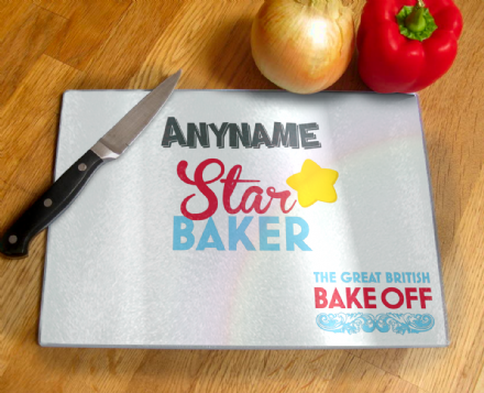 Personalised Star Baker Glass Chopping Board Inspired by the Great British Bake Off